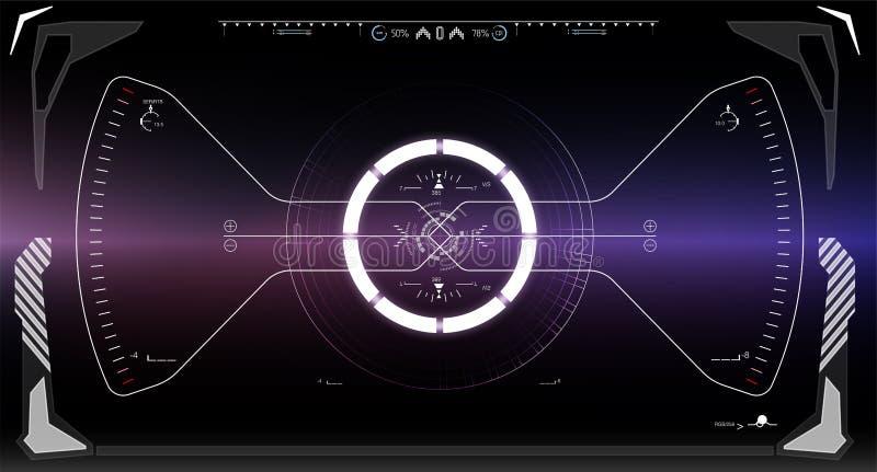 Tela da tecnologia da realidade de Vitrual Ficção científica HUD Dashboard Display futurista ilustração royalty free