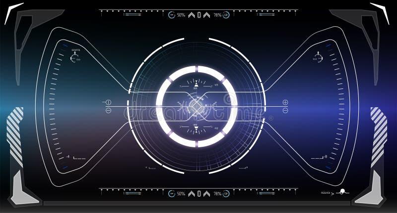 Tela da tecnologia da realidade de Vitrual Ficção científica HUD futurista ilustração do vetor