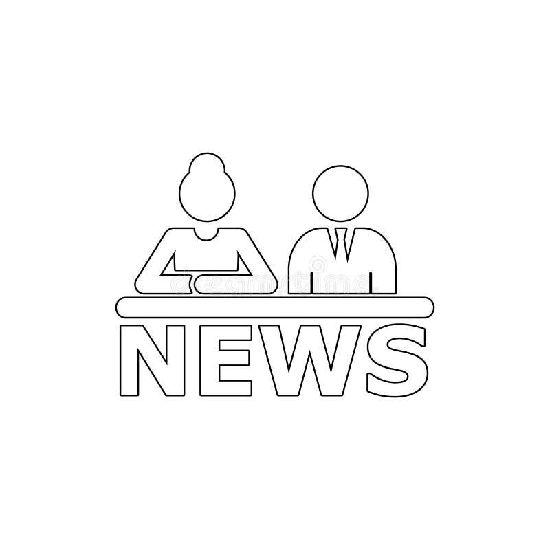 Tela da tevê com as notícias de última hora Ícone das âncoras da notícia do homem e da mulher Elemento dos meios para a ilustraçã ilustração royalty free
