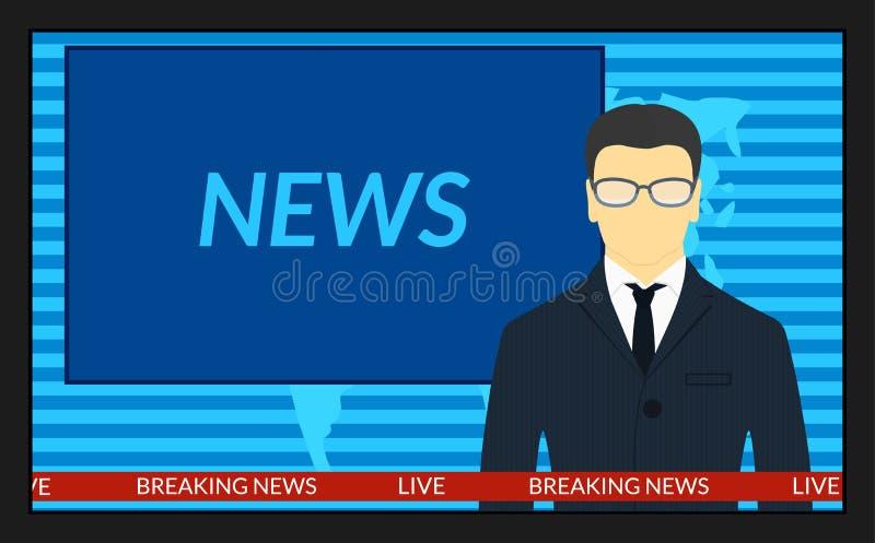 Tela da tevê com as notícias de última hora ilustração royalty free