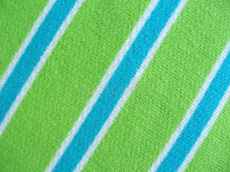Tela de algodón con las rayas del verde azul y del blanco imagen de archivo
