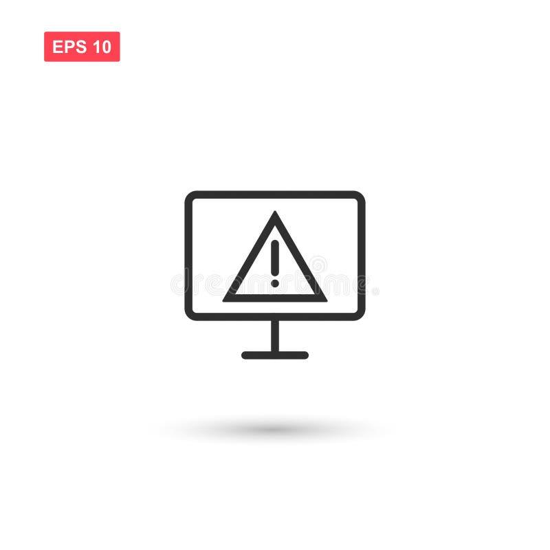 Tela de computador com advertência do vírus alerta isolado ilustração do vetor