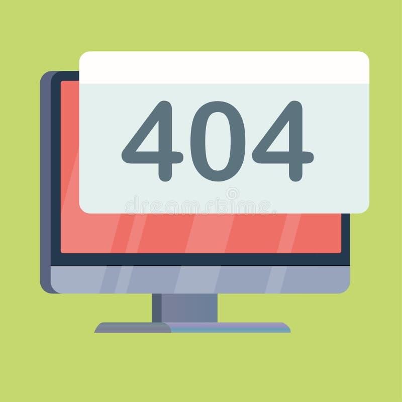 tela de computador com aviso 404 na exposição ilustração stock