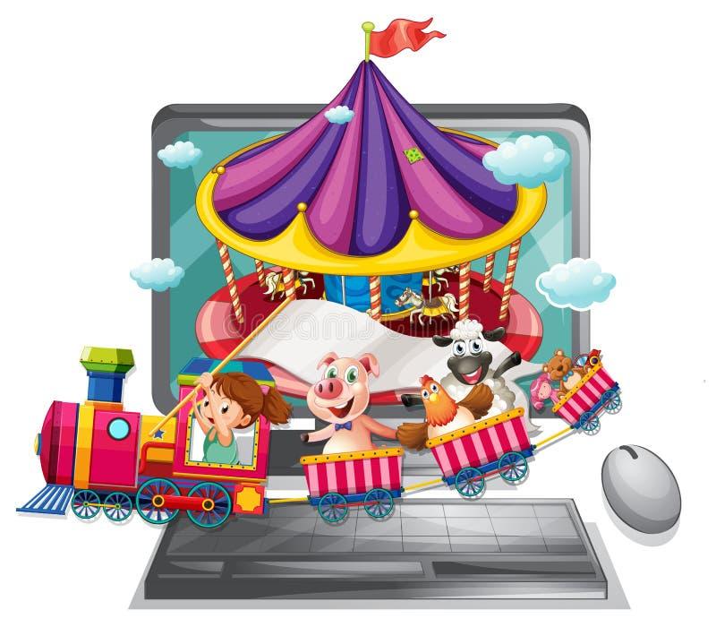 Tela de computador com crianças e animais no trem ilustração royalty free