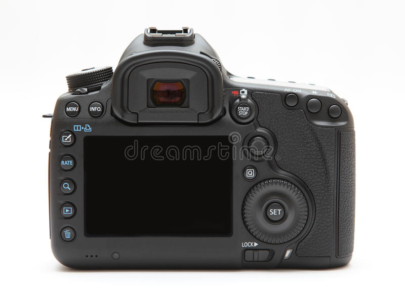 Tela de exposição traseira da câmara digital fotografia de stock royalty free