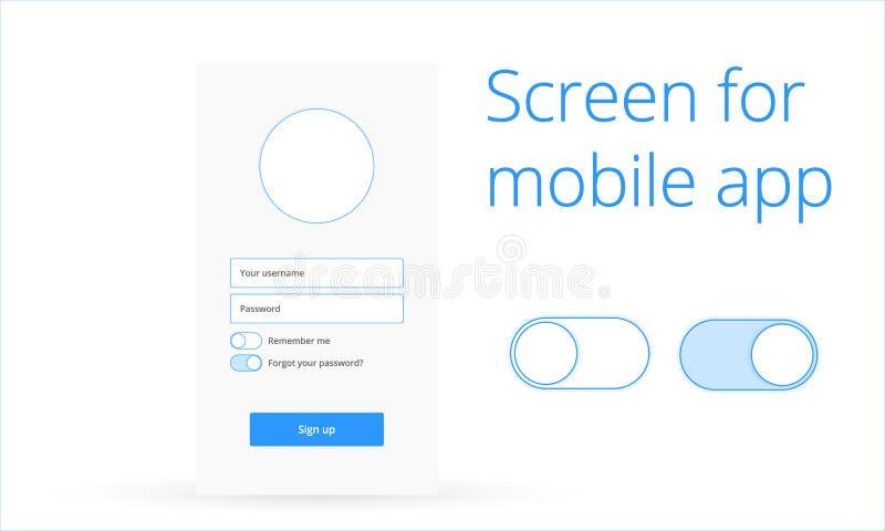 Tela de início de uma sessão para o app móvel ilustração stock