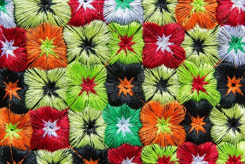 Tela de materia textil colorida de la tribu de la colina fotografía de archivo