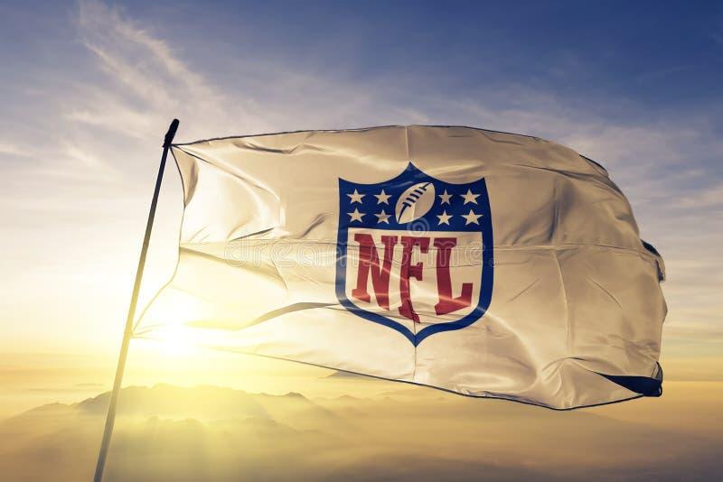 Tela de pano de matéria têxtil da bandeira do logotipo da Liga Nacional de Futebol Americano do NFL que acena na névoa superior d ilustração royalty free