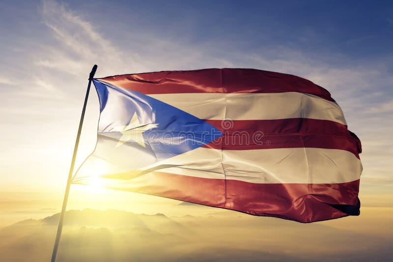 Tela de pano de matéria têxtil da bandeira nacional de Porto Rico que acena na parte superior ilustração do vetor