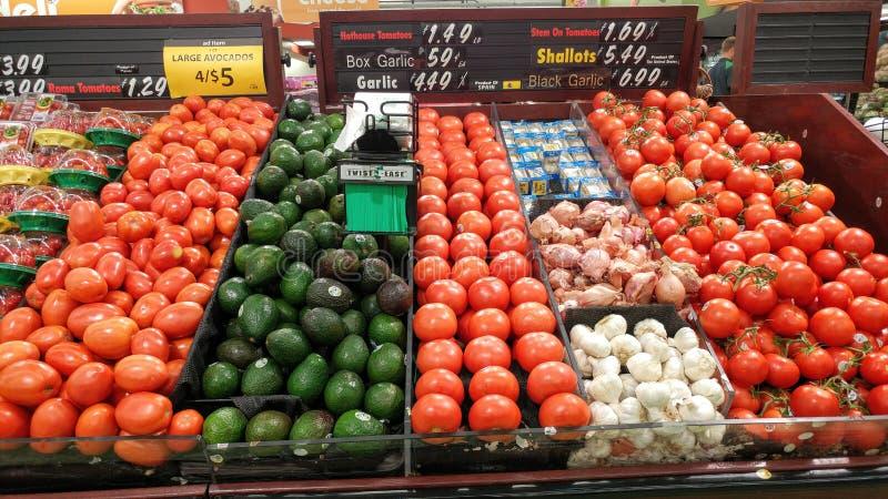Tela de produtos frescos na Grocery Store foto de stock
