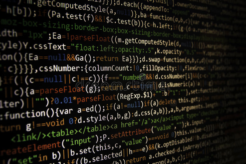 Tela de programação do código do programador de software Computador fotos de stock royalty free