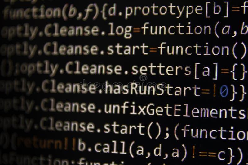 Tela de programação do código do programador de software Computador imagem de stock