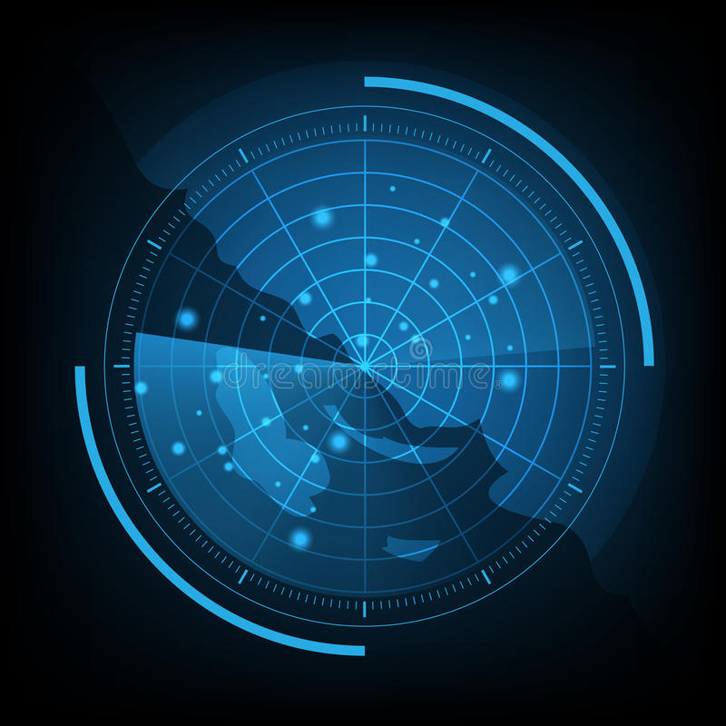 Tela de radar azul com mapa ilustração stock