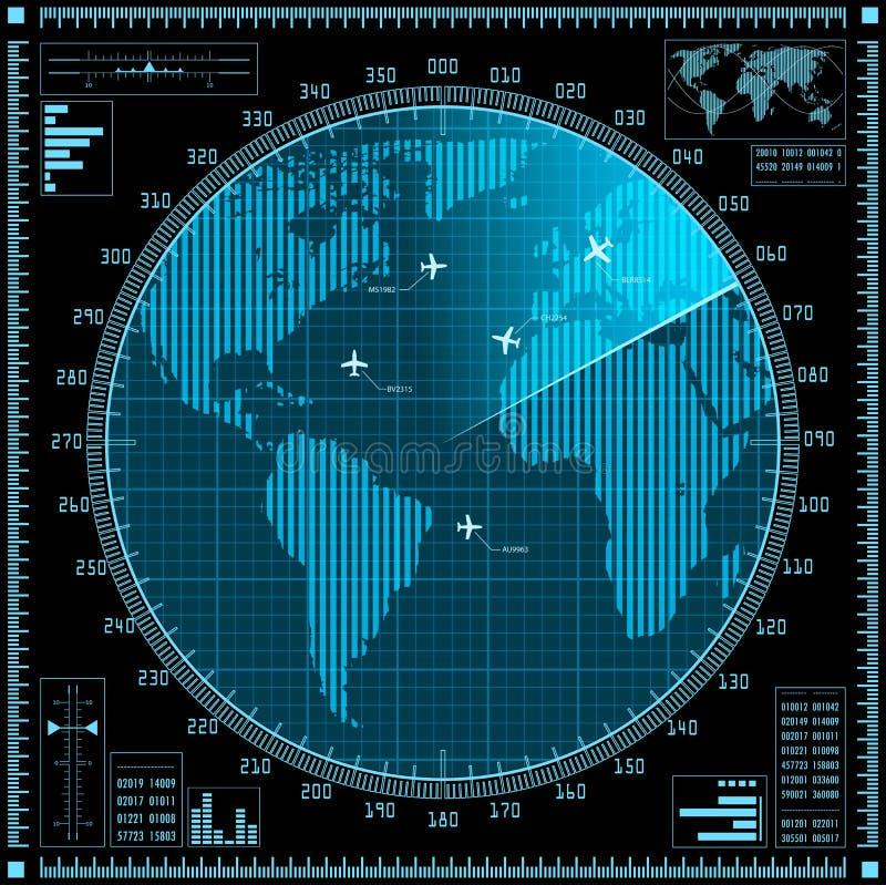 Tela de radar azul com planos e mapa do mundo ilustração royalty free