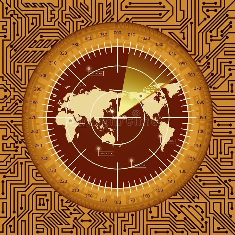 Tela de radar de Digitas com mapa do mundo, alvos e elementos da placa de circuito de máscaras marrons, alaranjadas, e amarelas ilustração royalty free