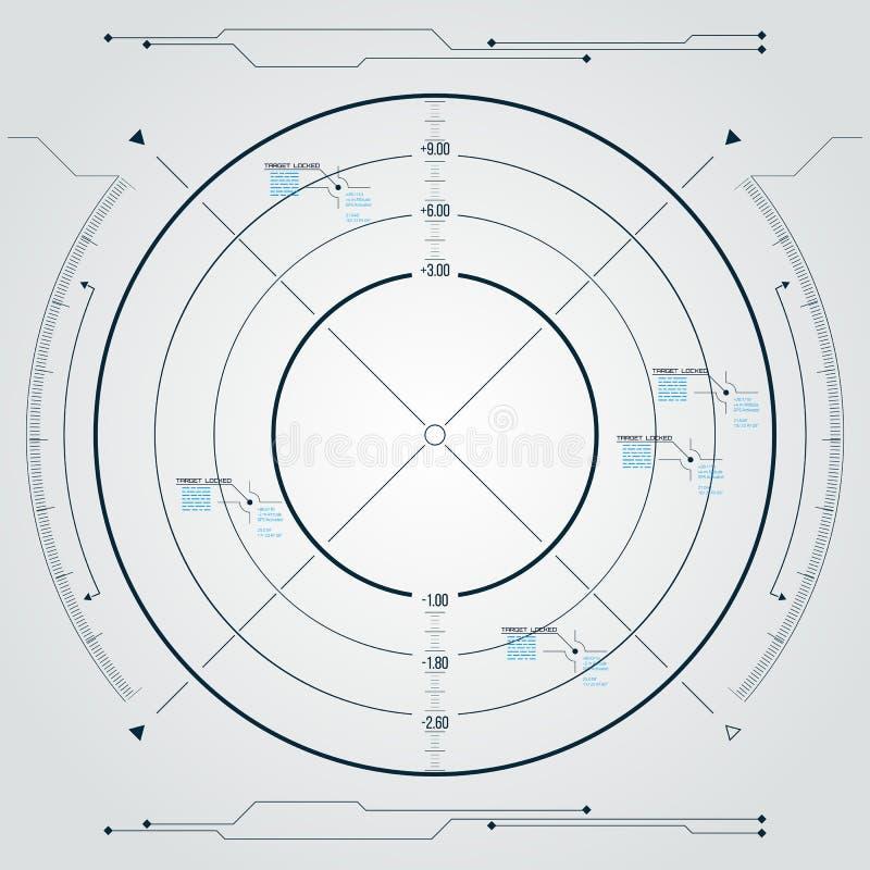 Tela de radar de Digitas HUD futurista com painéis datailed ilustração do vetor