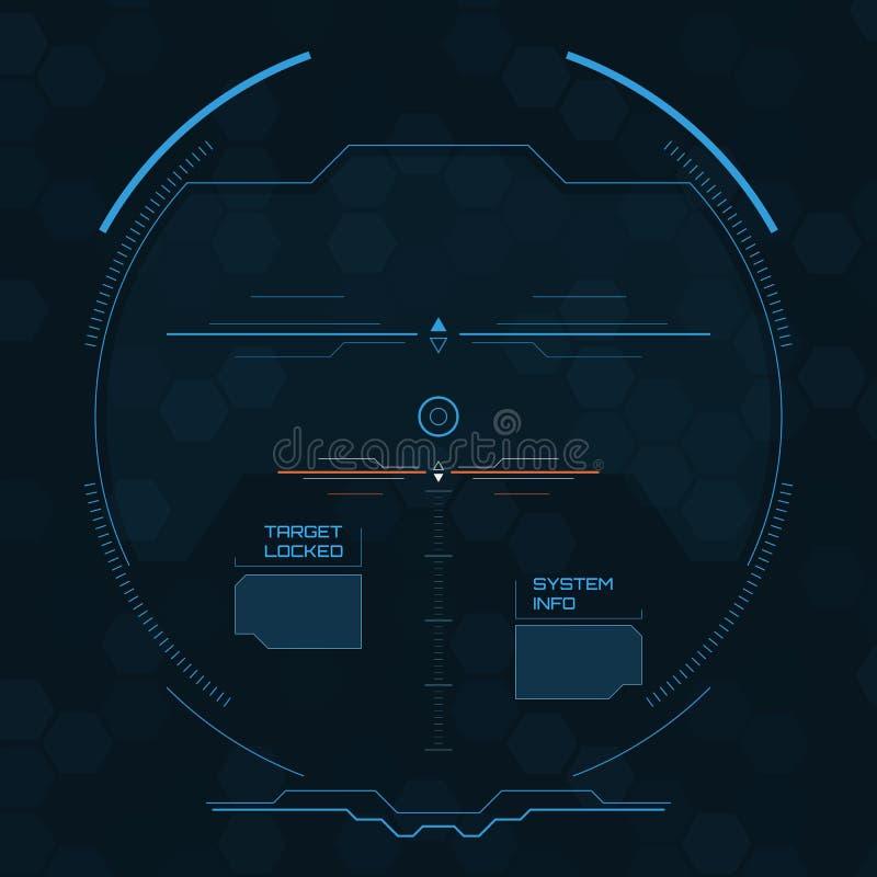 Tela de radar de Digitas HUD futurista com painéis datailed ilustração royalty free