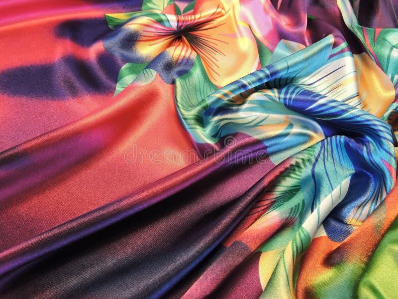Tela de satén colorida imagenes de archivo