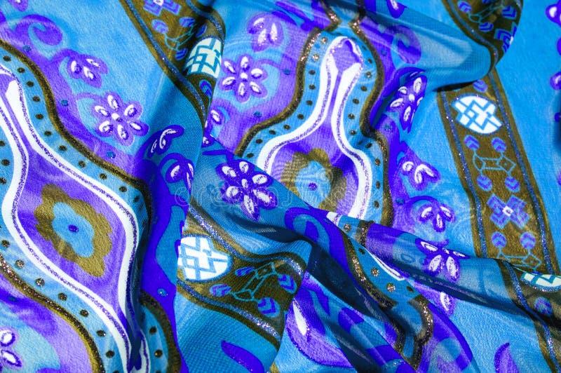 Tela de seda azul da textura do fundo com um teste padrão esta luz s imagem de stock royalty free