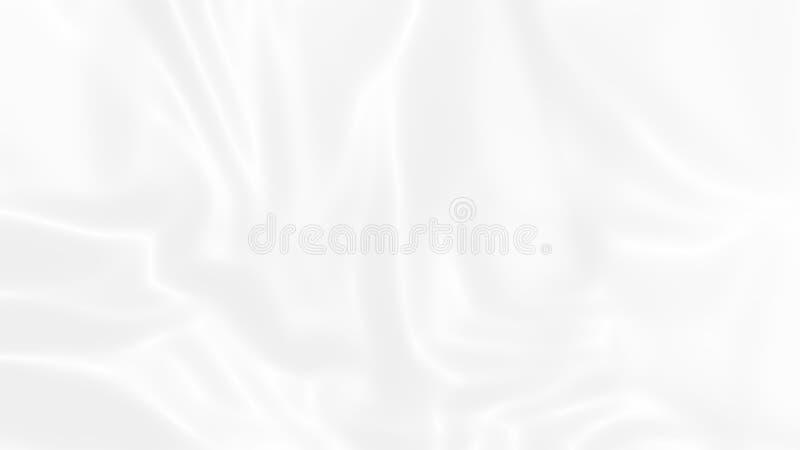 Tela de seda lisa ondulada branca macia l?quida do sum?rio Fundo luxuoso elegante da textura do cetim da onda para o casamento, r ilustração royalty free