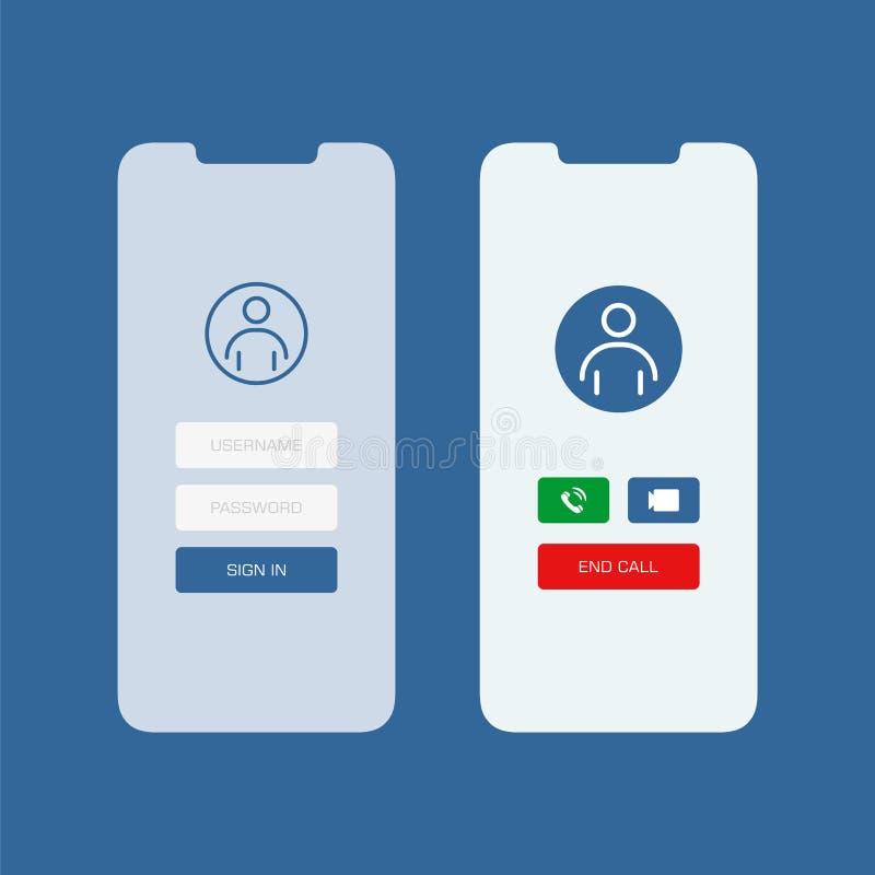 A tela de Smartphone com assina dentro a ilustração lisa do estilo do ui video da aplicação da chamada ilustração do vetor