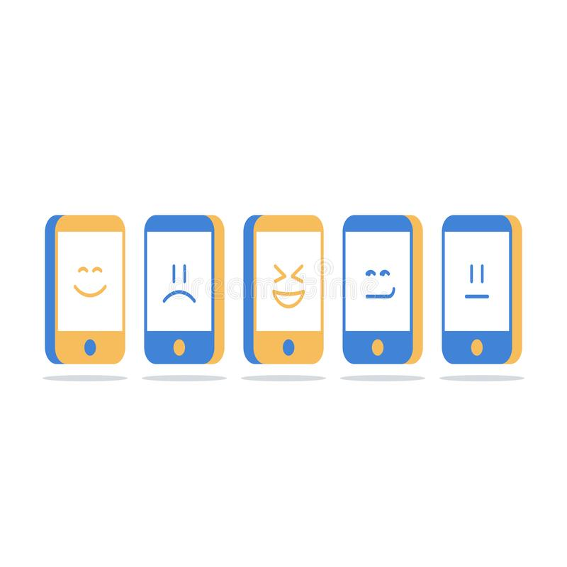 Tela de Smartphone com emoji, uma comunicação móvel, interação social dos meios, bate-papo em linha, conceito da identidade ilustração stock