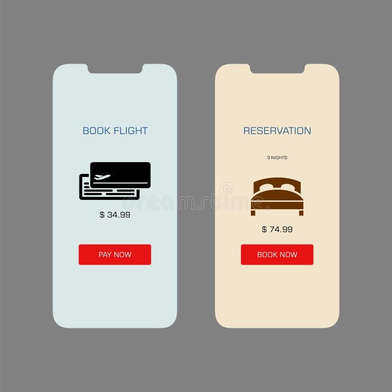 Tela de Smartphone com ilustração lisa do estilo do ui da aplicação do voo do hotel do livro ilustração do vetor