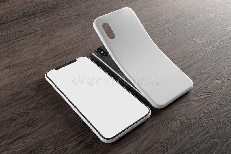 Tela de Smartphone e modelo do caso - rendição 3d ilustração royalty free