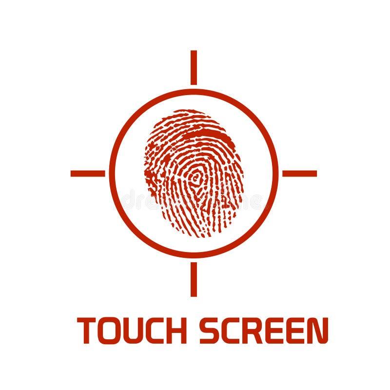 A tela de toque realçou o símbolo ilustração royalty free