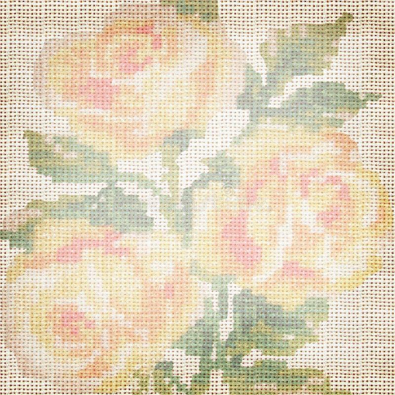 Tela del fondo con las rosas bordadas fotografía de archivo libre de regalías
