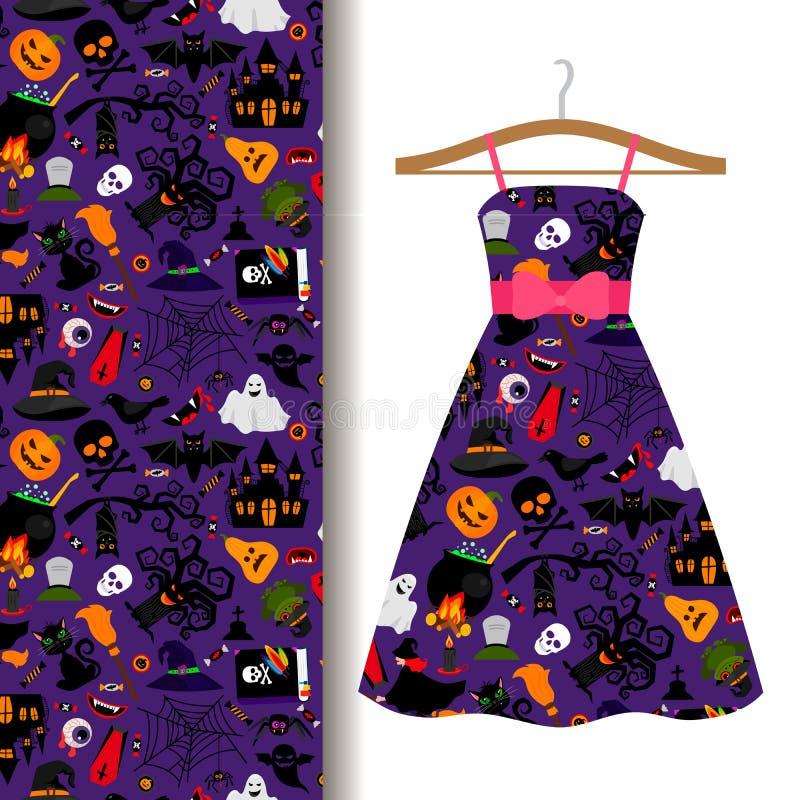 Tela del vestido con el modelo colorido de Halloween libre illustration