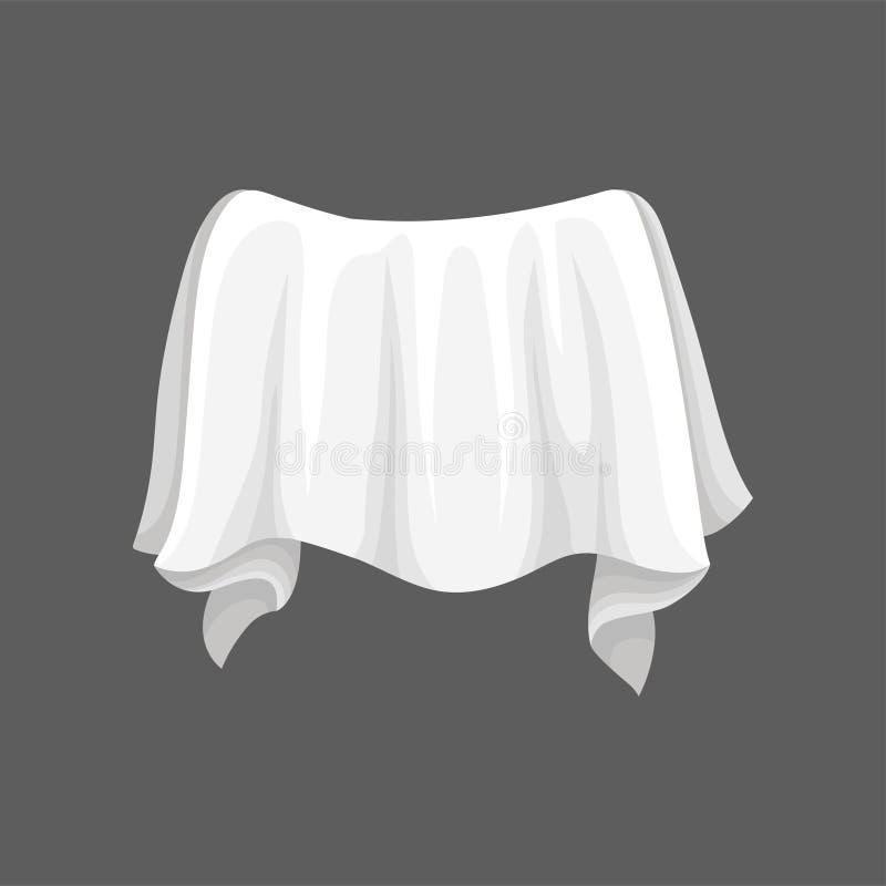 Tela do cetim com dobras onduladas Pano de seda branco Elemento liso do vetor para anunciar o cartaz ou o inseto da oficina ou ilustração royalty free