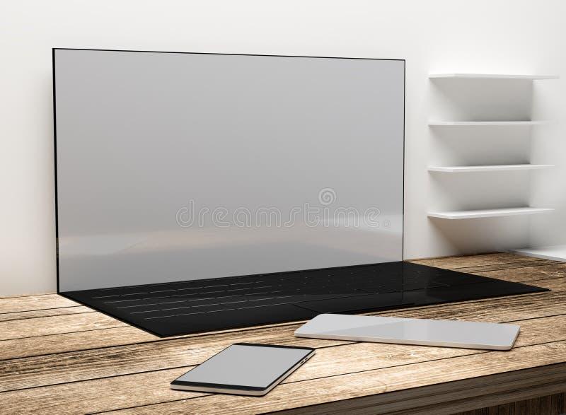 Tela do desktop do laptop do caderno com telefone celular e Ta ilustração royalty free