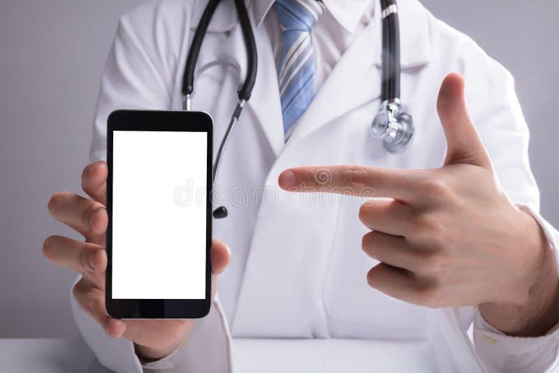 Tela do móbil do doutor Showing Blank White foto de stock royalty free