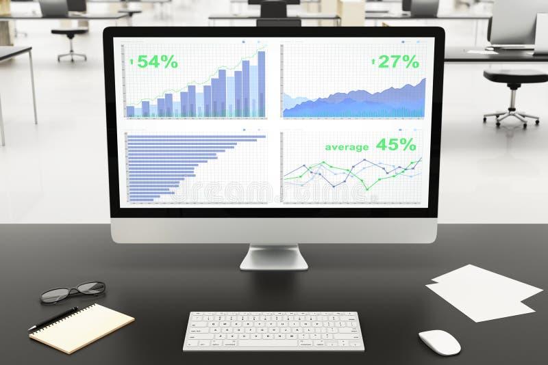 Tela do oncomputer dos gráficos de negócio, papel e outros acessórios mim fotografia de stock royalty free