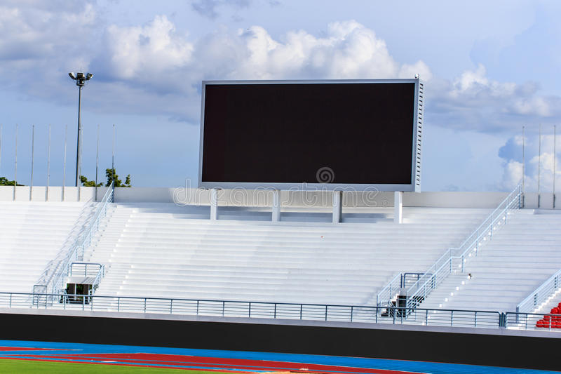 Tela do placar no estádio fotografia de stock