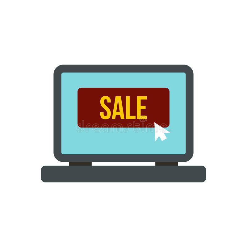 Tela do portátil com ícone da palavra da venda ilustração stock