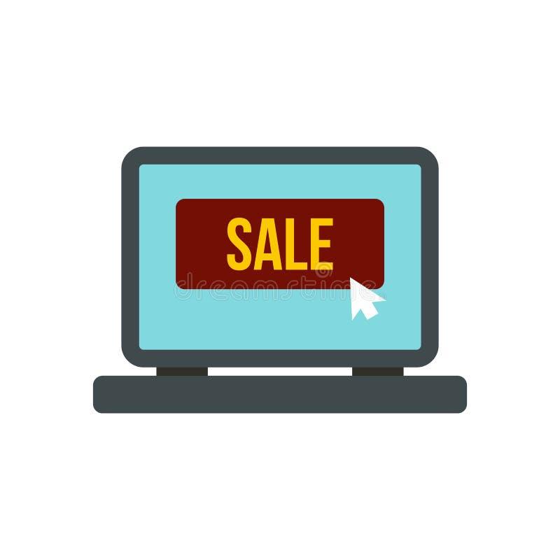 Tela do portátil com ícone da palavra da venda ilustração do vetor