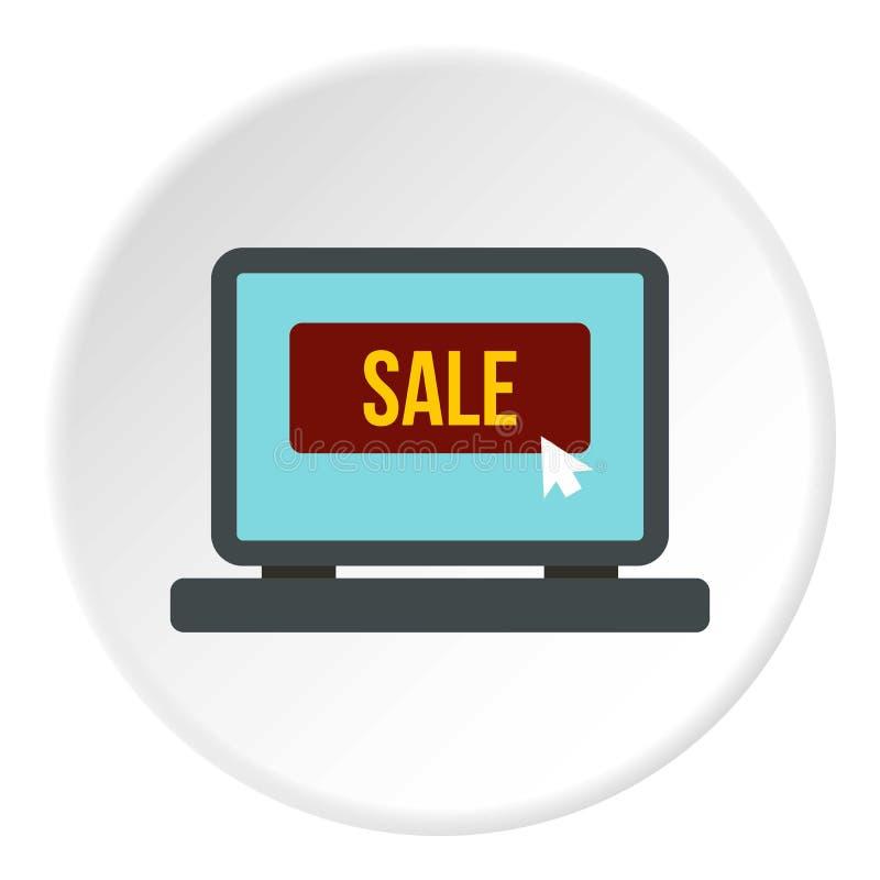 Tela do portátil com círculo do ícone da palavra da venda ilustração royalty free