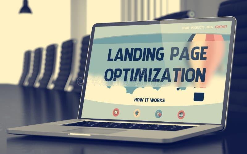 Tela do portátil com conceito da otimização da página da aterrissagem 3d ilustração stock