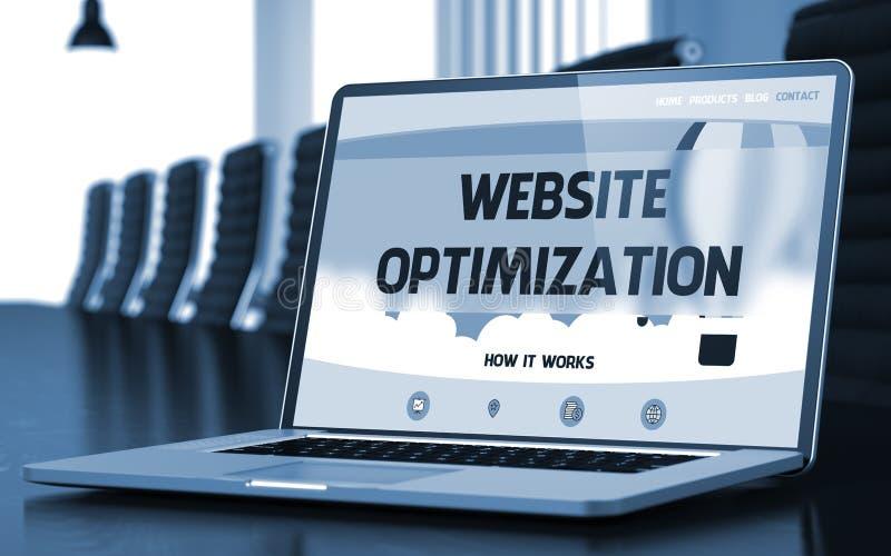 Tela do portátil com conceito da otimização do Web site 3d foto de stock