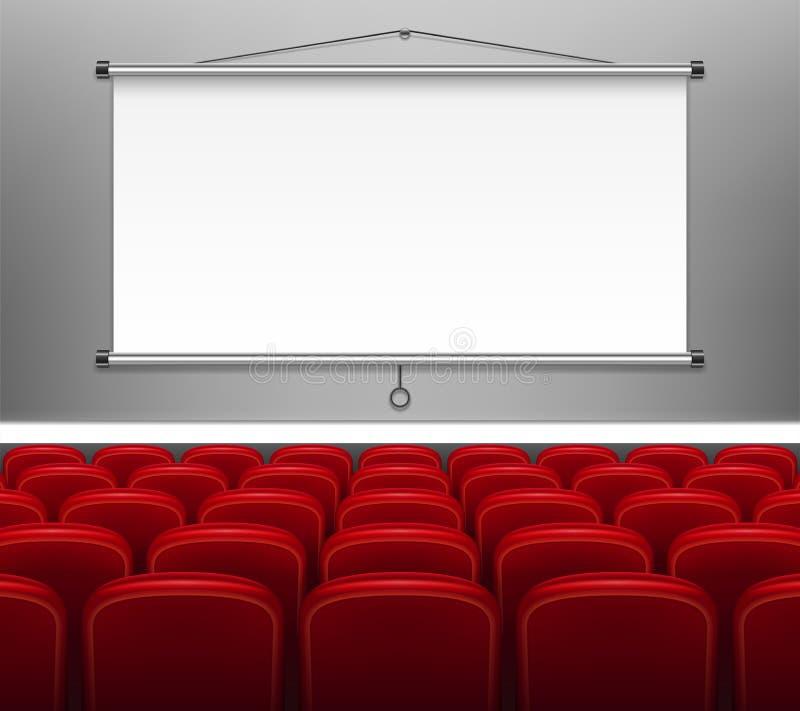 Tela do projetor com assentos vermelhos para a apresentação Branco esvazie a exposição para encontrar-se, pessoal de formação, re ilustração do vetor