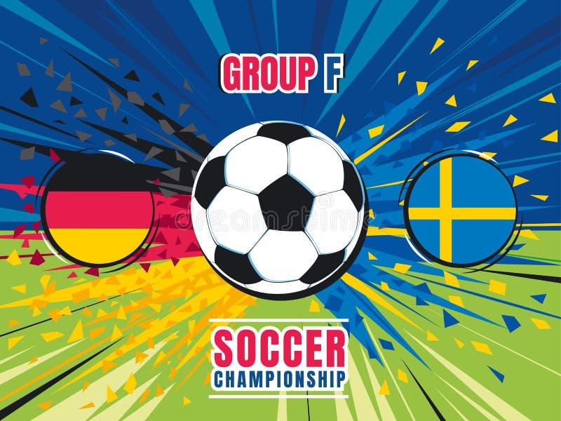 Tela do respingo do fósforo do campeonato mundial do futebol Alemanha contra a Suécia grupo F Ilustração do vetor da cor ilustração do vetor