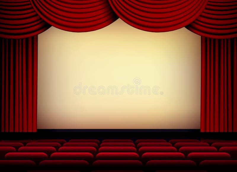Tela do teatro ou do auditório do cinema com cortinas e assentos vermelhos ilustração stock