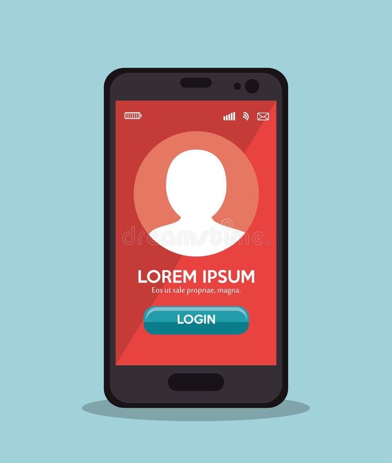 tela do vermelho do app do início de uma sessão do telefone celular ilustração do vetor