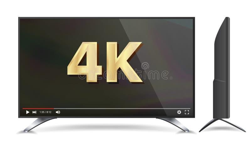 tela do vetor da tevê 4k Vídeo Conceito largo moderno do plasma da televisão do LCD Digital Ilustração ilustração stock