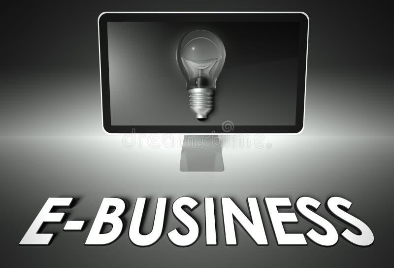Tela e ampola com comércio electrónico, comércio electrónico ilustração stock