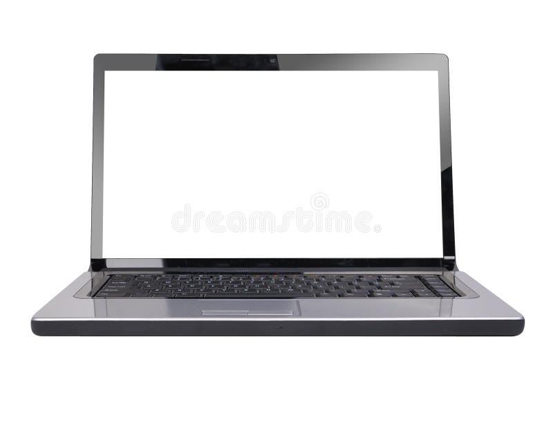 Tela em branco do branco do portátil do computador imagem de stock royalty free