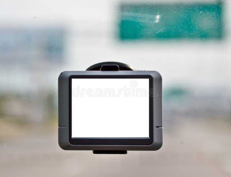 Tela em branco do navegador do GPS no carro fotografia de stock royalty free