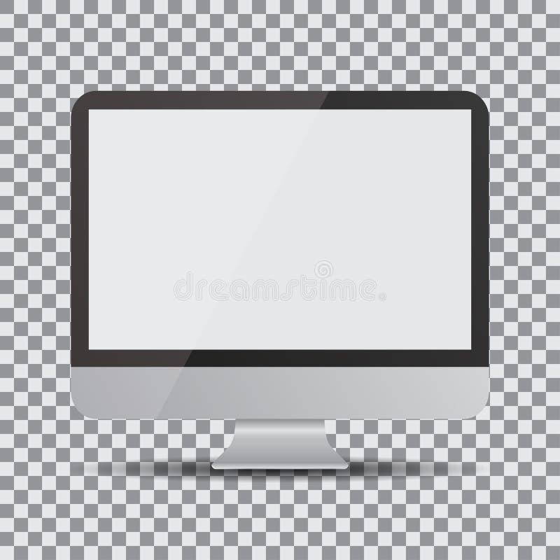 Tela em branco Exposição de computador realística em um fundo transparente ilustração royalty free